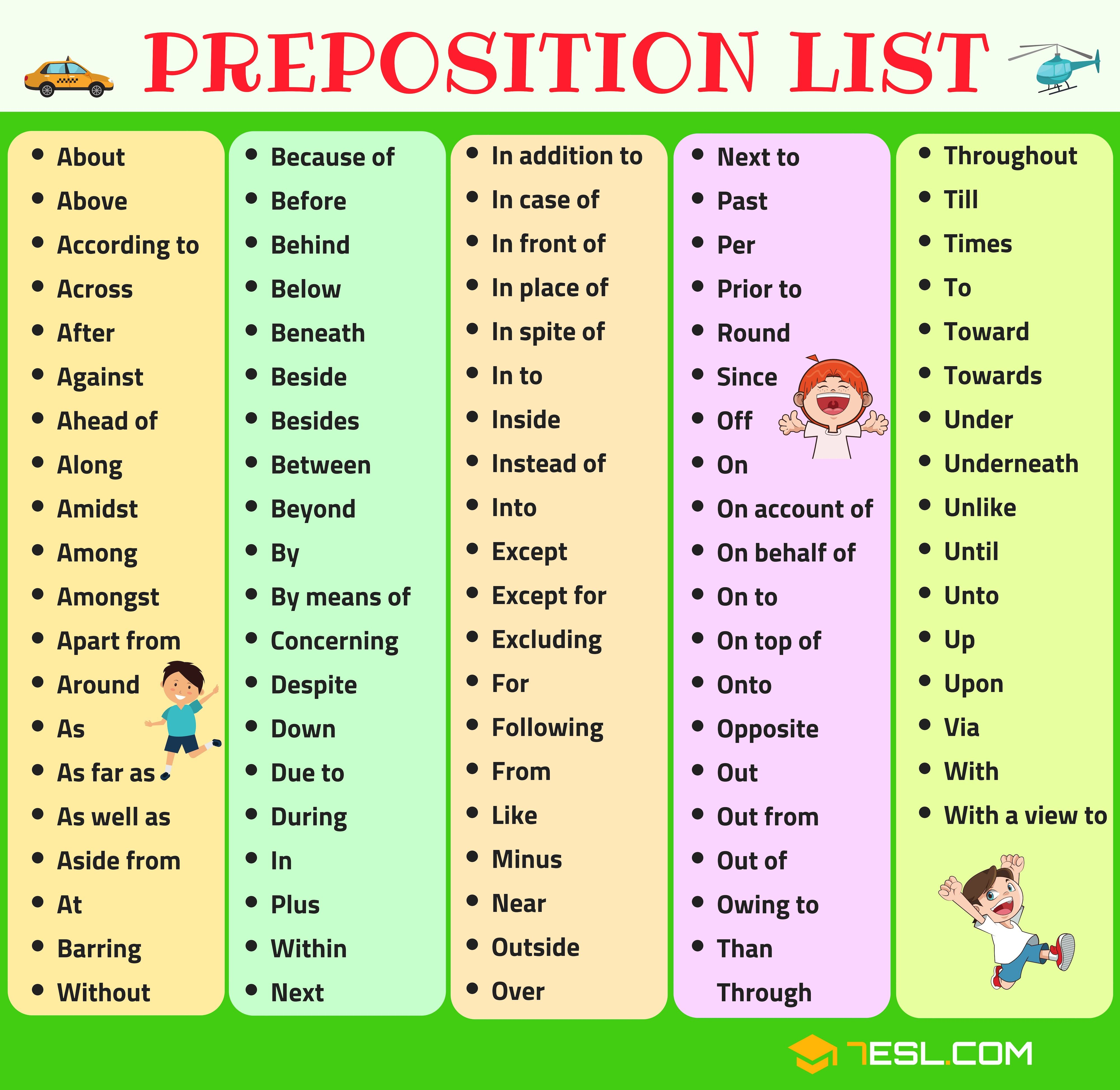 This is an image of Sweet Printable List of Prepositions
