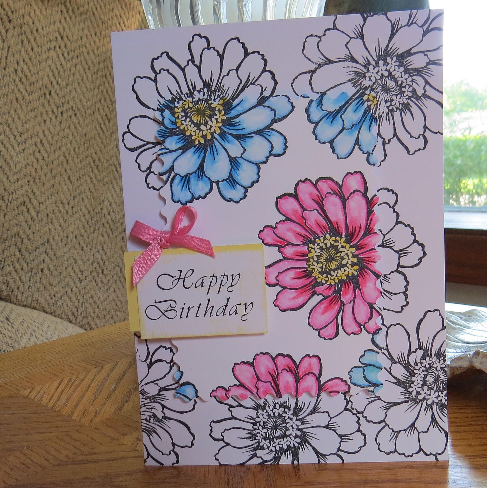 Floral birthday card large 5x7 pink and blue daisy flower card large birthday flower card for her happy birthday surprise card blue and pink happiness izmirmasajfo