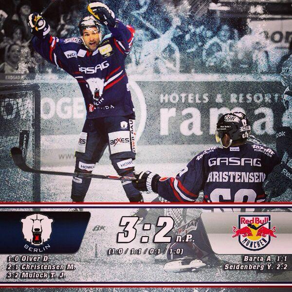 Eisbaren Berlin Ehc Red Bull Munchen 3 2 N P Tore Olver 3 Christensen 34 Mulock 65 Ps Home Win Twopoints Eisbaren Berlin Eishockey Hockey