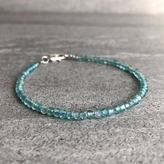 Photo of Apatite Bracelet | Blue Green Crystal Bracelet | Natural Stone Jewelry | Gold or Silver Clasp | Tiny Faceted Gemstone Layering Bracelet