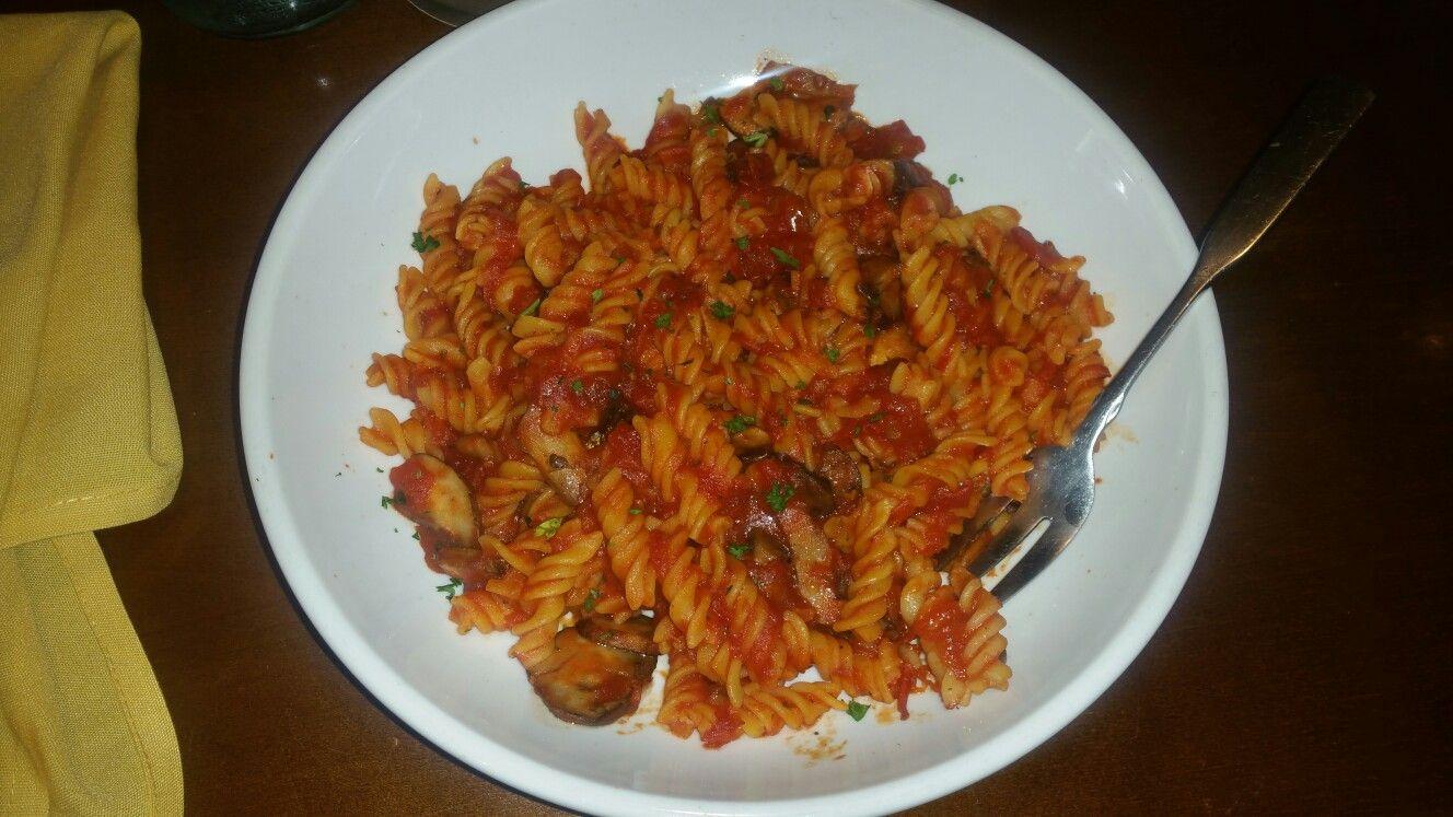 Sauteed mushrooms over gluten-free rotini in marinara sauce from ...