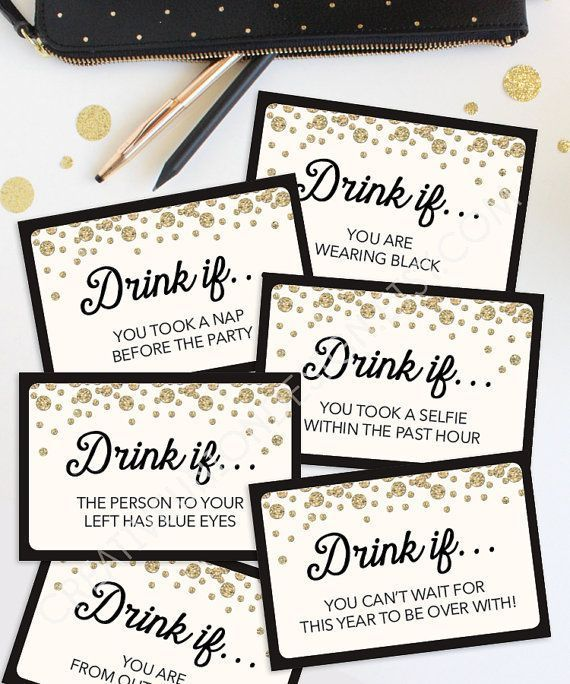 New Years Eve Game - Drink If Game - Printable New Year's Eve Game - New Years Eve Games - Ne... New Years Eve Game - Drink If Game - Printable New Year's Eve Game - New Years Eve Games - New Year's Eve Party Ideas - Drinking Game,