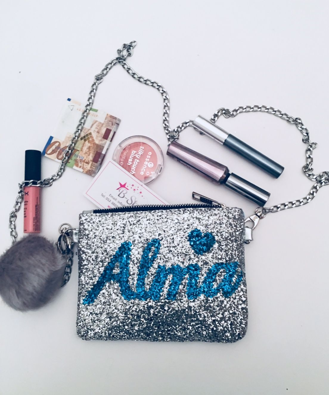 Personalized Makeup Bag Teal, Glitter Makeup Pouch Custom
