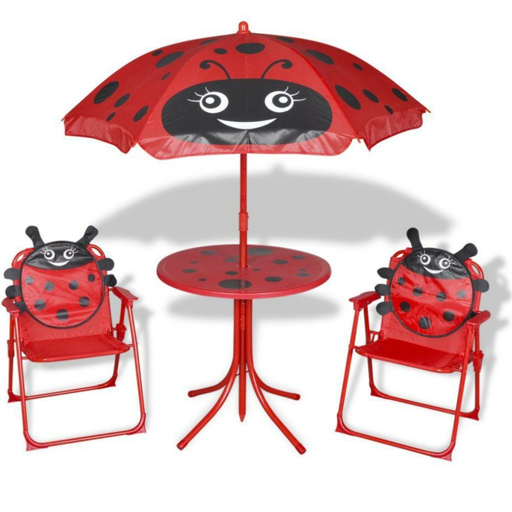 Kids Garden Furniture Red Childrens Patio Table Chairs Umbrella