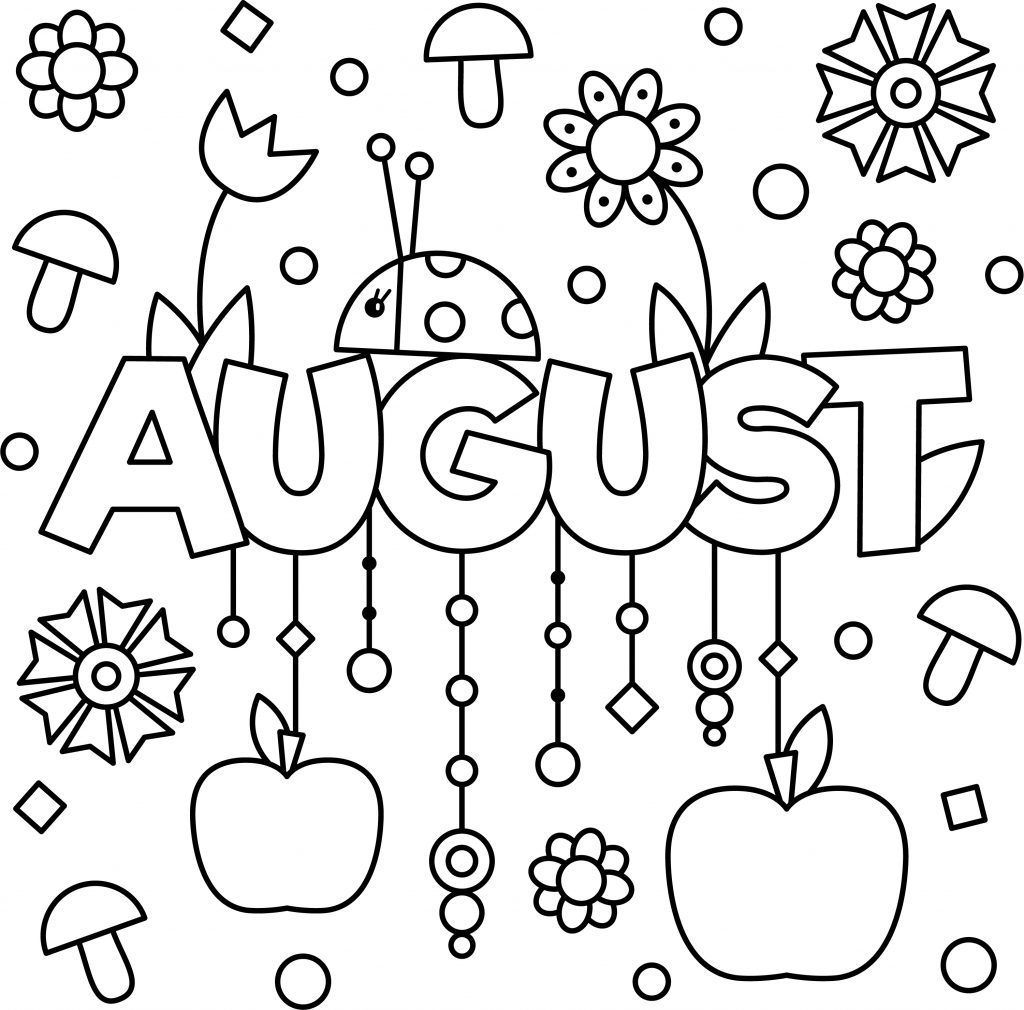 Monthly August Colouring Page Printable Spring Coloring Pages