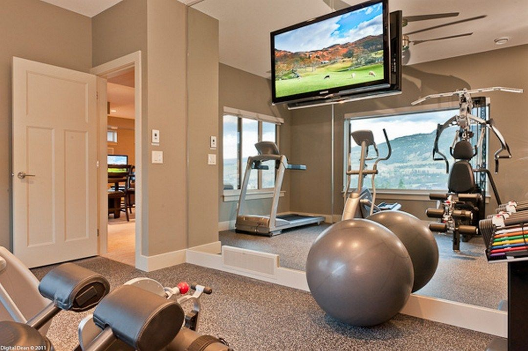 Small space home gym decorating ideas in basement home