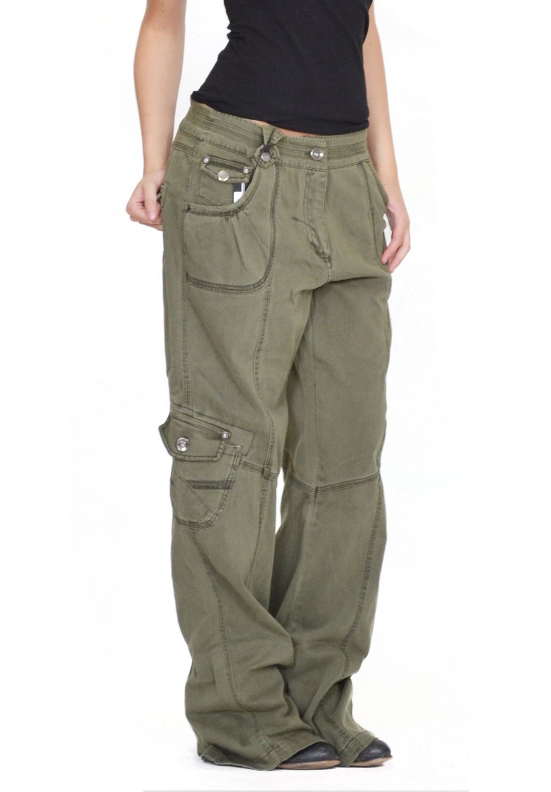 Womens Army Green Baggy Loose Cargo Pants Wide Boyfriend Combat Trousers  Jeans 5da5ab187