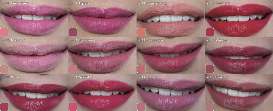 E.L.F. Lipsticks Lips swatches ! | Makeup | Pinterest | Studios ...