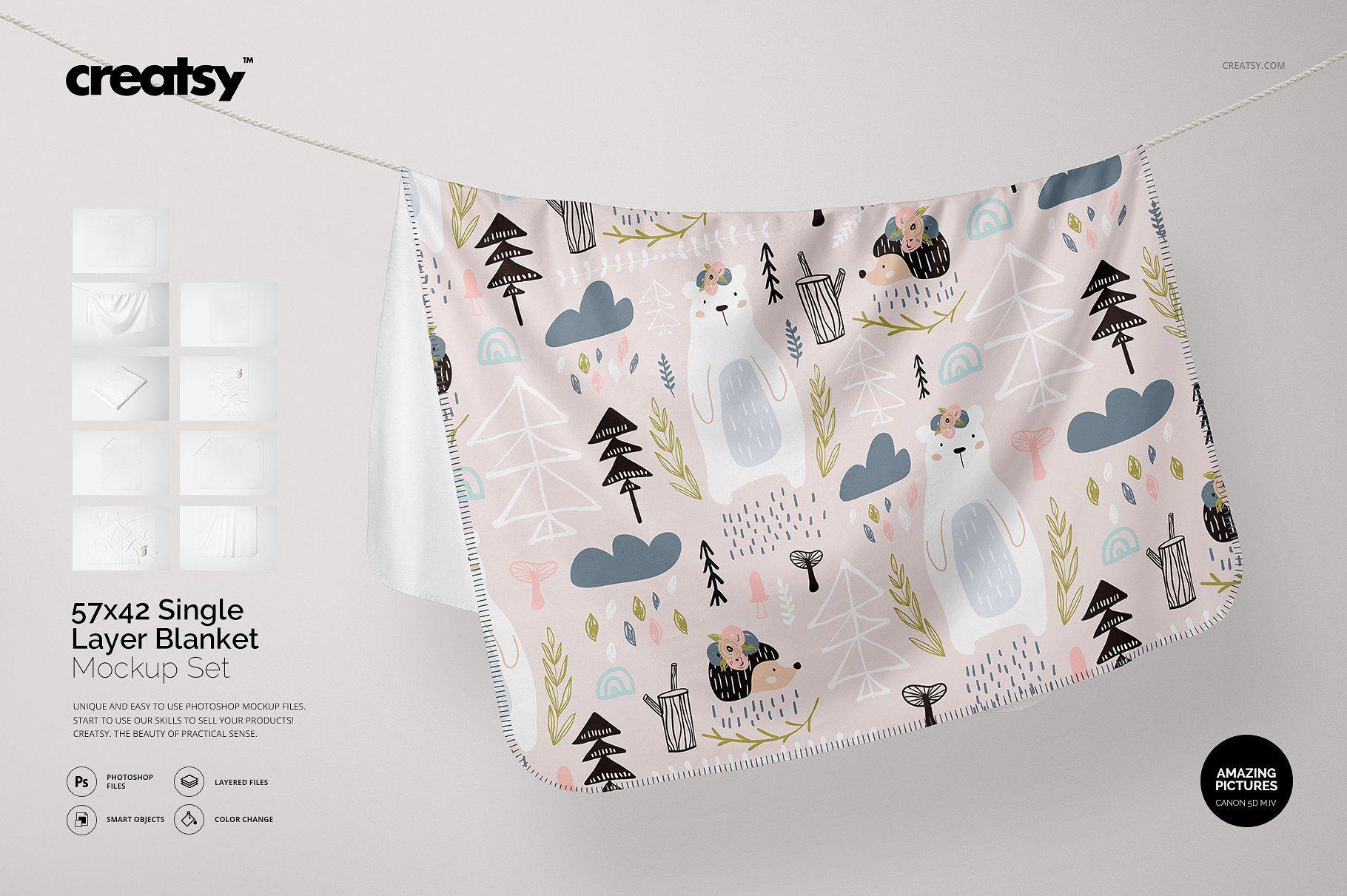 Download Single Layer Blanket Mockup Set Mockup Customized Blankets Mockup Design
