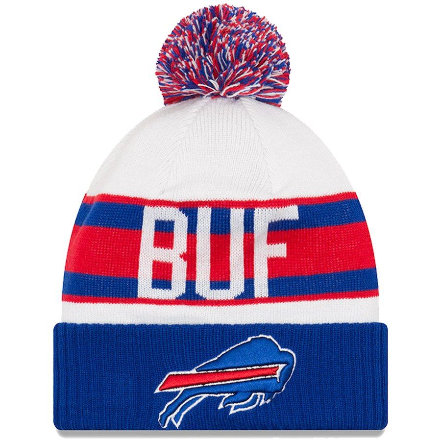a27791797ab Youth Buffalo Bills New Era White Royal Retro Cuffed Knit Hat With ...