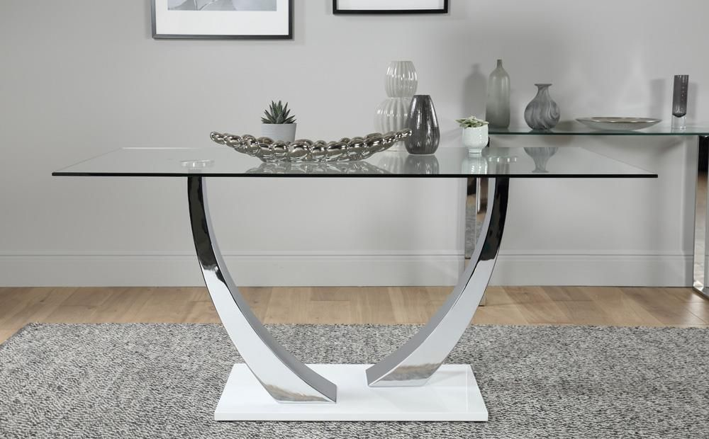 Peake Glass And Chrome Dining Table White Gloss Base With 6 Leon Grey Chairs Glass Furniture Dining Table Dining Furniture Sets