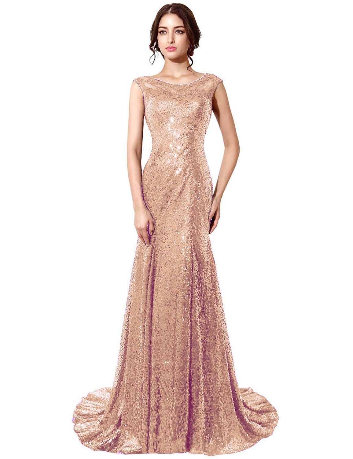 Belle house rose gold sequins sheer neck prom dress long mermaid