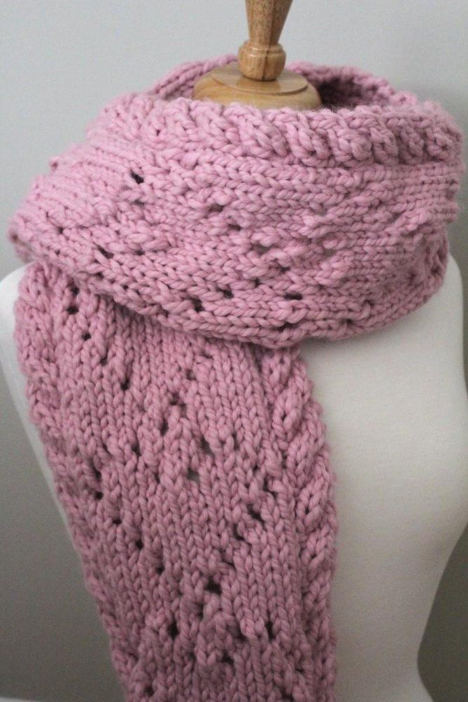 This quick knit scarf is the perfect gift for a loved one or for yourself. It can be worn as a long scarf or closed shut as a cowl. The heart design is quick and simple and this pattern is written out row by row. Find this pattern and more inspiration at LoveKnitting.Com!