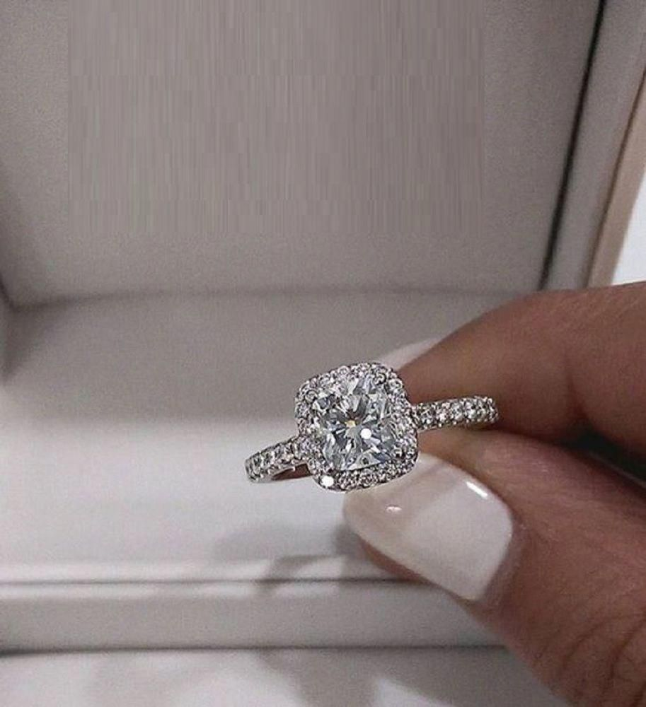 2.00ct Diamond Cushion Halo Engagement Ring 14k White Gold Over Wedding Ring Set Jewelry & Watches Fine Rings