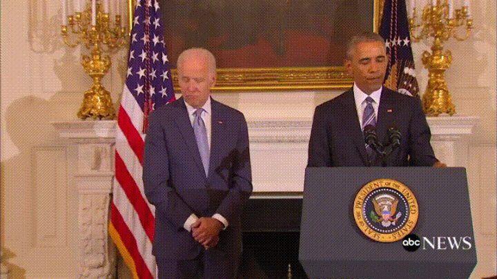 Joe Biden's reaction to President Obama awarding him the Presidential Medal of Freedom (with distinction)