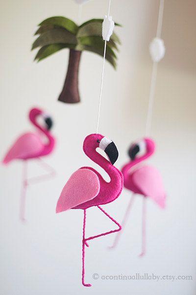 Hot Pink Flamingo Mobile Felt Flamingo Jungle by AContinualLullaby