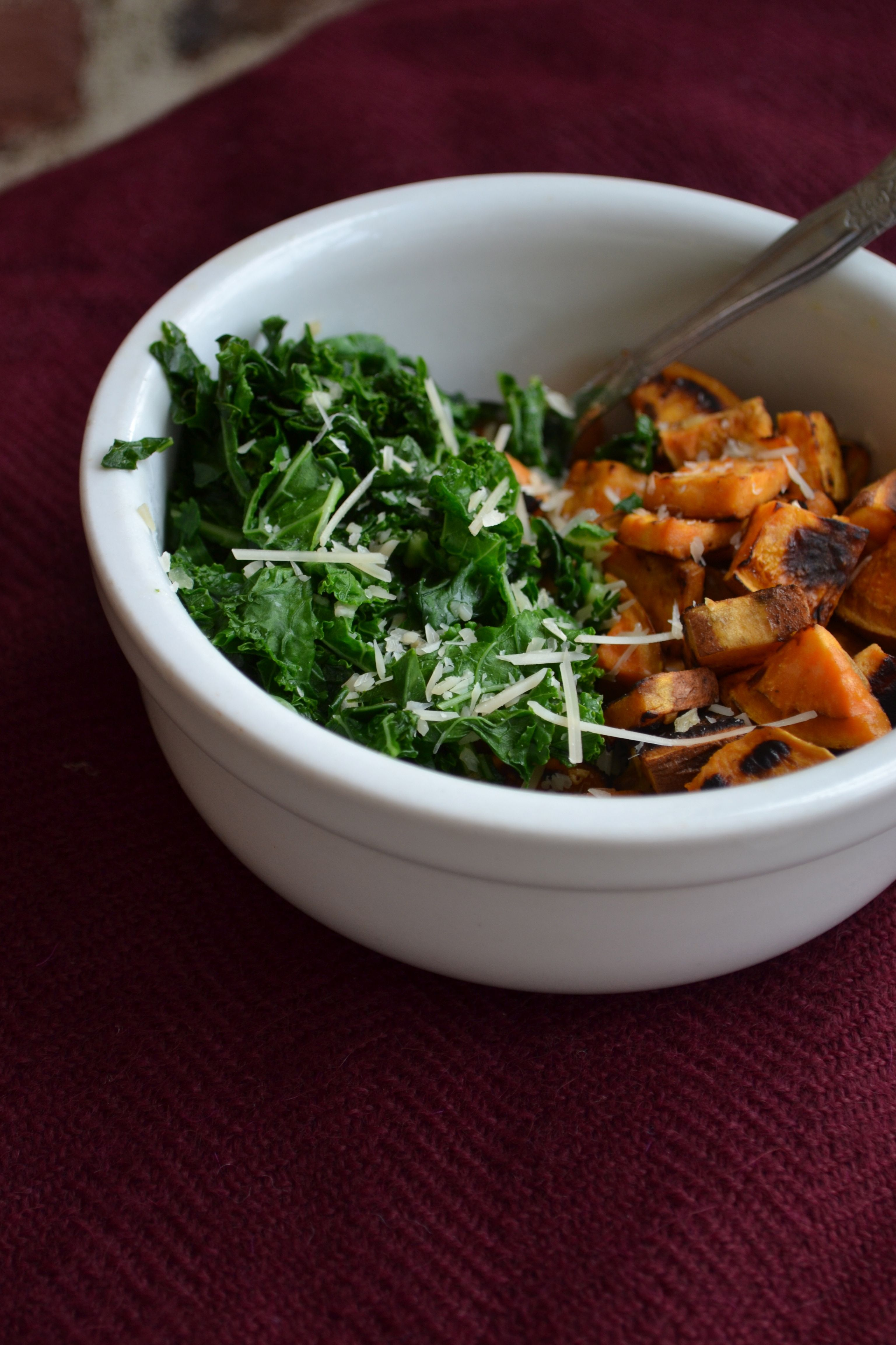 Agave Sauteed Kale with Roasted Sweet Potatoes {gf, vegan}