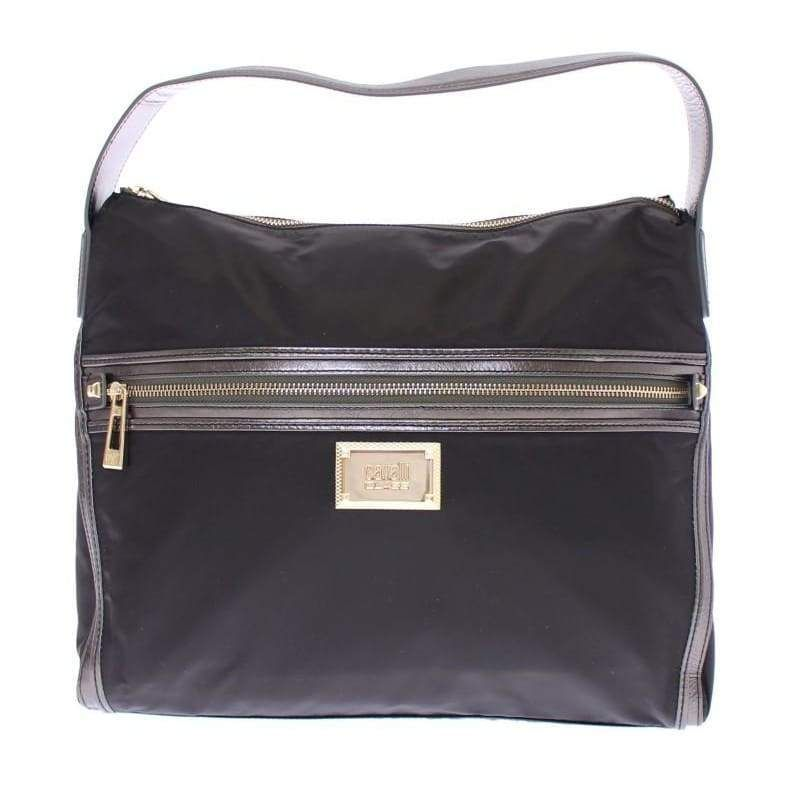 Cavalli Black Gold Zipper Hobo Shoulder Bag in 2019  a783fc2378385