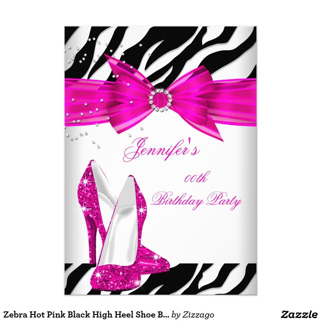 Zebra Hot Pink Black High Heel Shoe Birthday Party Invitation ...