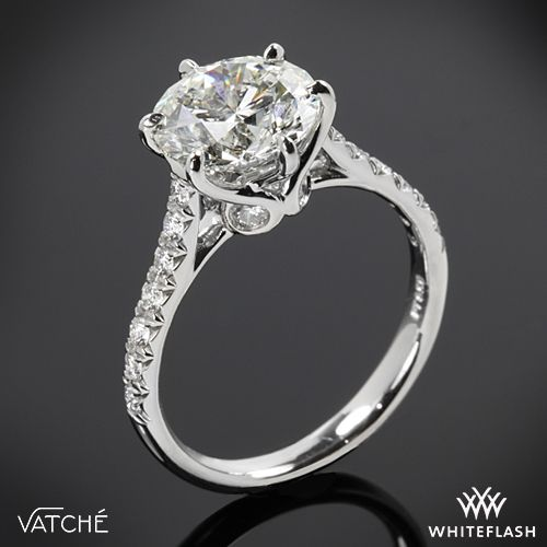 4a7ee1e7b0602 Platinum Vatche 1054 Swan French Pave Diamond Engagement Ring ...
