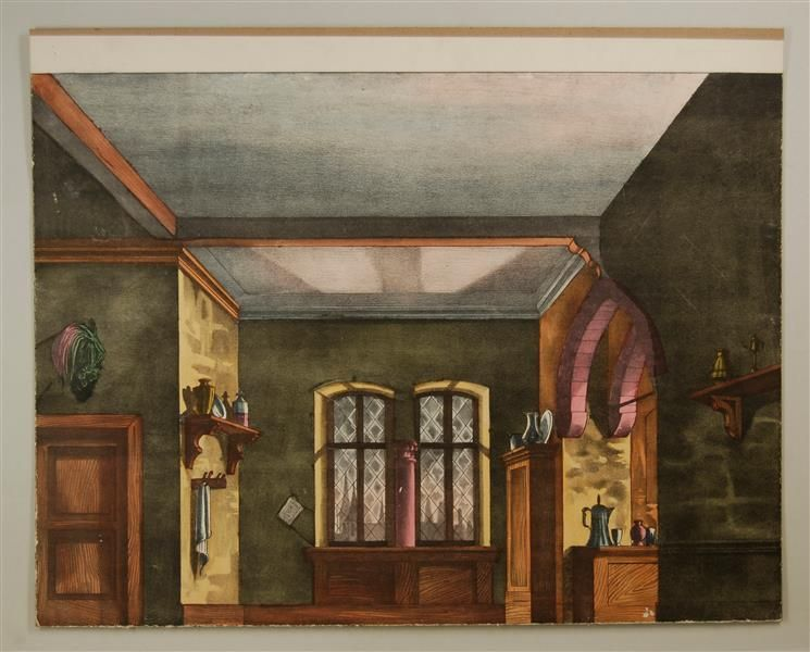 Küche mit Wohnzimmer Hintergrund Nr 112 PAPER THEATRES