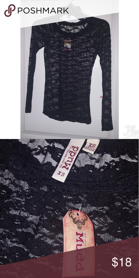 Mudd Black Lace Long Sleeve Shirt (XS) BRAND NEW Brand: Mudd Style: Lace Sleeve Length: Long Sleeve Size: Extra Small Color: Black Brand New/Never Worn with Tags Smoke-free home Mudd Tops Tees - Long Sleeve