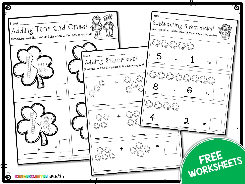 Kindergarten Math Worksheets St Patricks Day With A