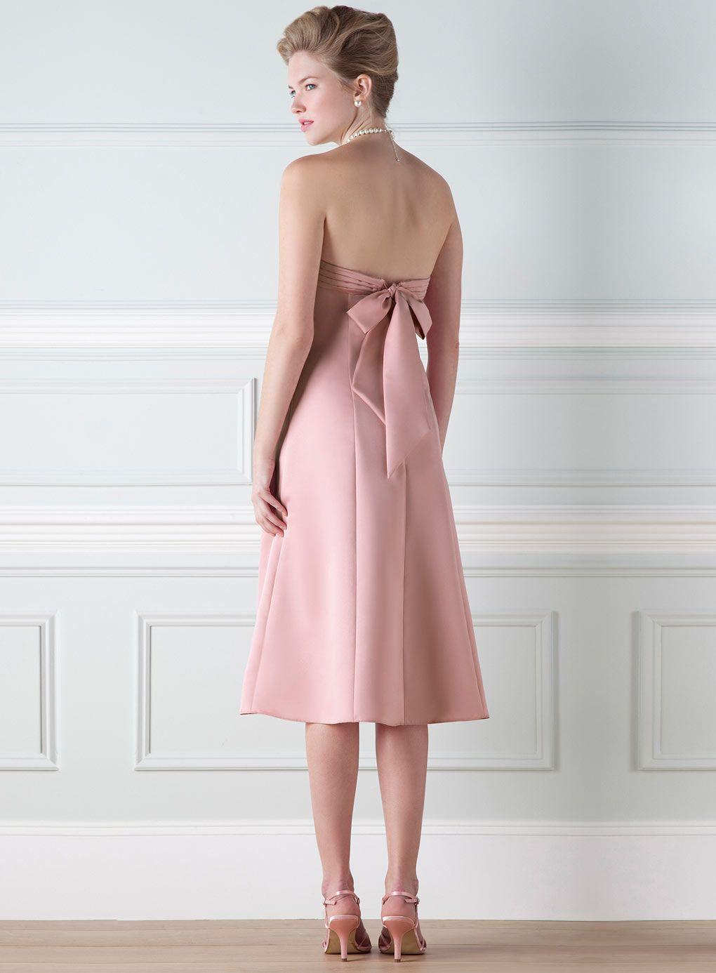 Anna Dusky Pink Satin Bridesmaid Dress - adult bridesmaid - wedding ...