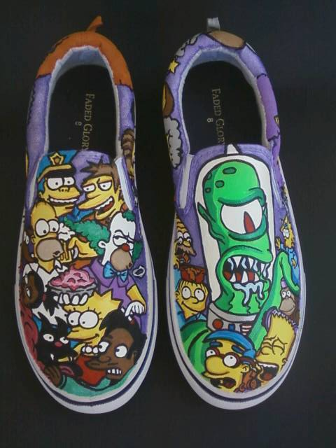37788240654 Custom Handpainted The Simpsons Slip On Shoes by rachelliles352 ...