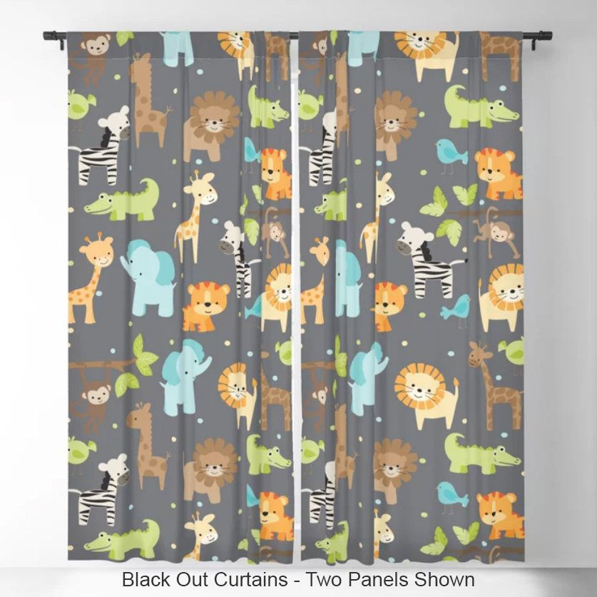 Jungle Animals Window Curtains Nursery
