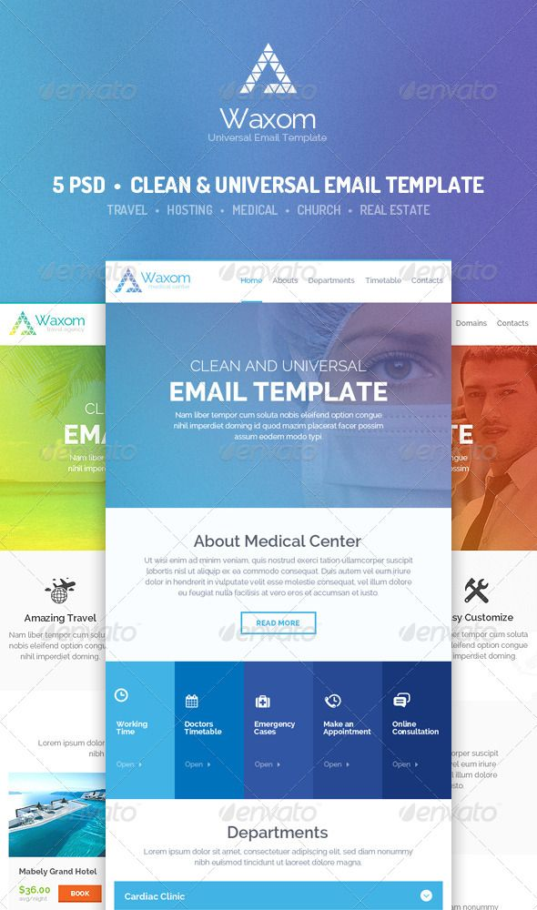 waxom clean and universal email template psd download here http