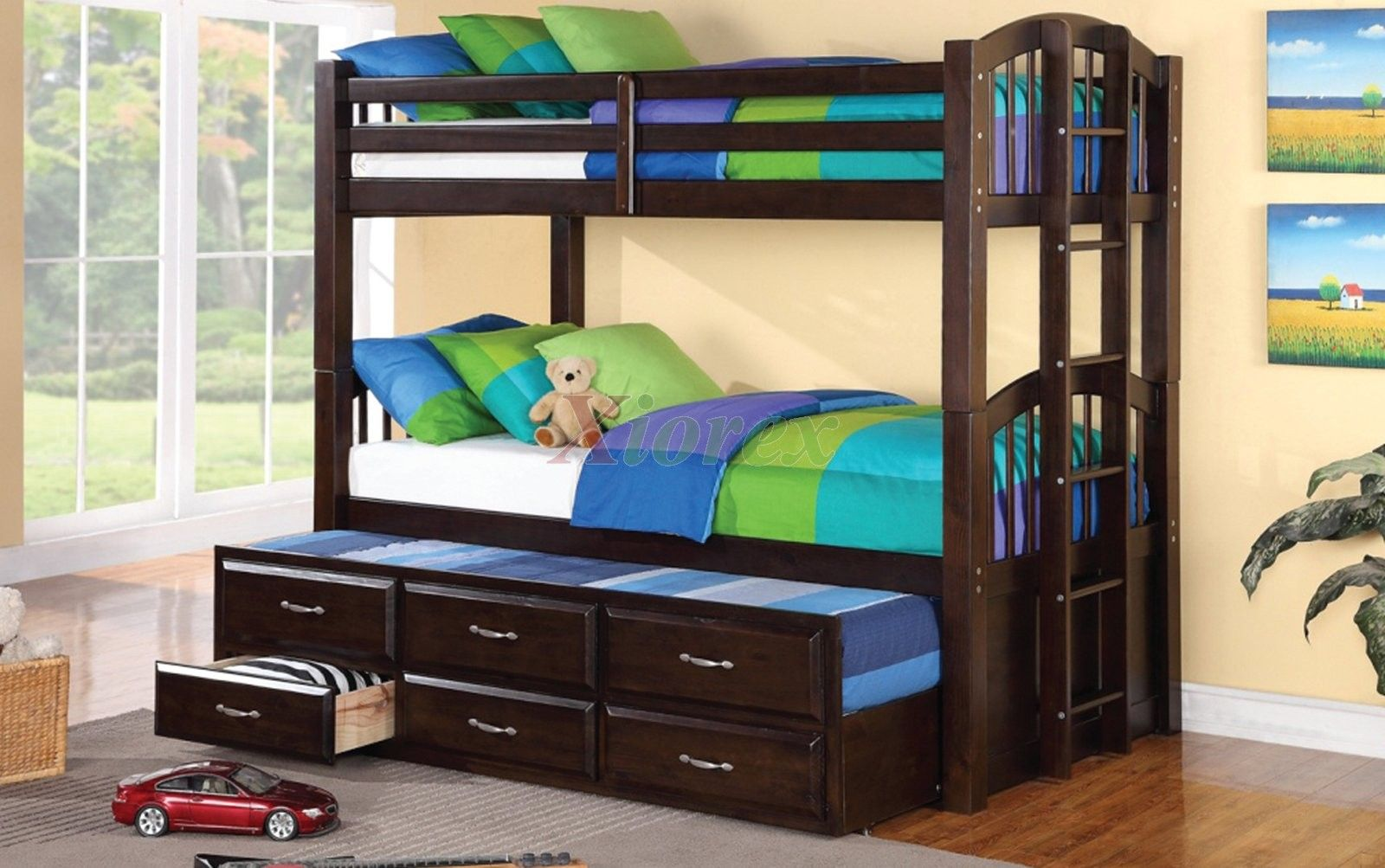 Acamar twin over twin bunk bed w bottom twin captain bed for Captains bed