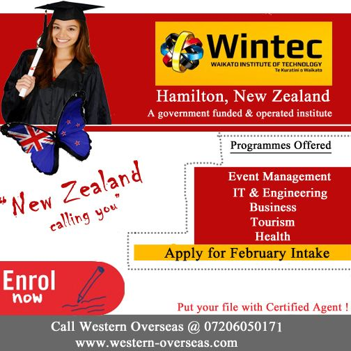 Study In Newzealand At Wintec Institute Hamilton Apply For