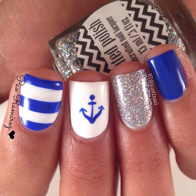 Nautical nail design == Nail art supply store: https://www.etsy.com ...