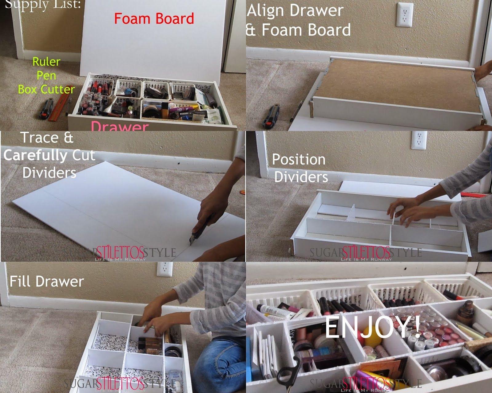 DIY foam board drawer organizer | diy. in 2019 | Diy ...