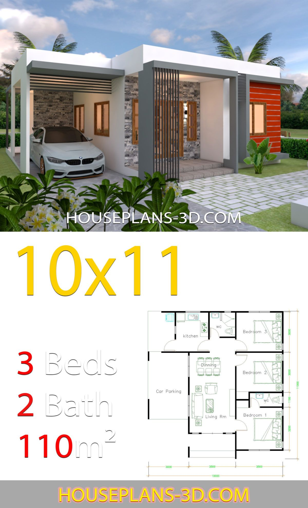 House Design 10x11 With 3 Bedrooms Terrace Roof House Plans 3d In 2020 House Plans Modern Bungalow House House Plan Gallery