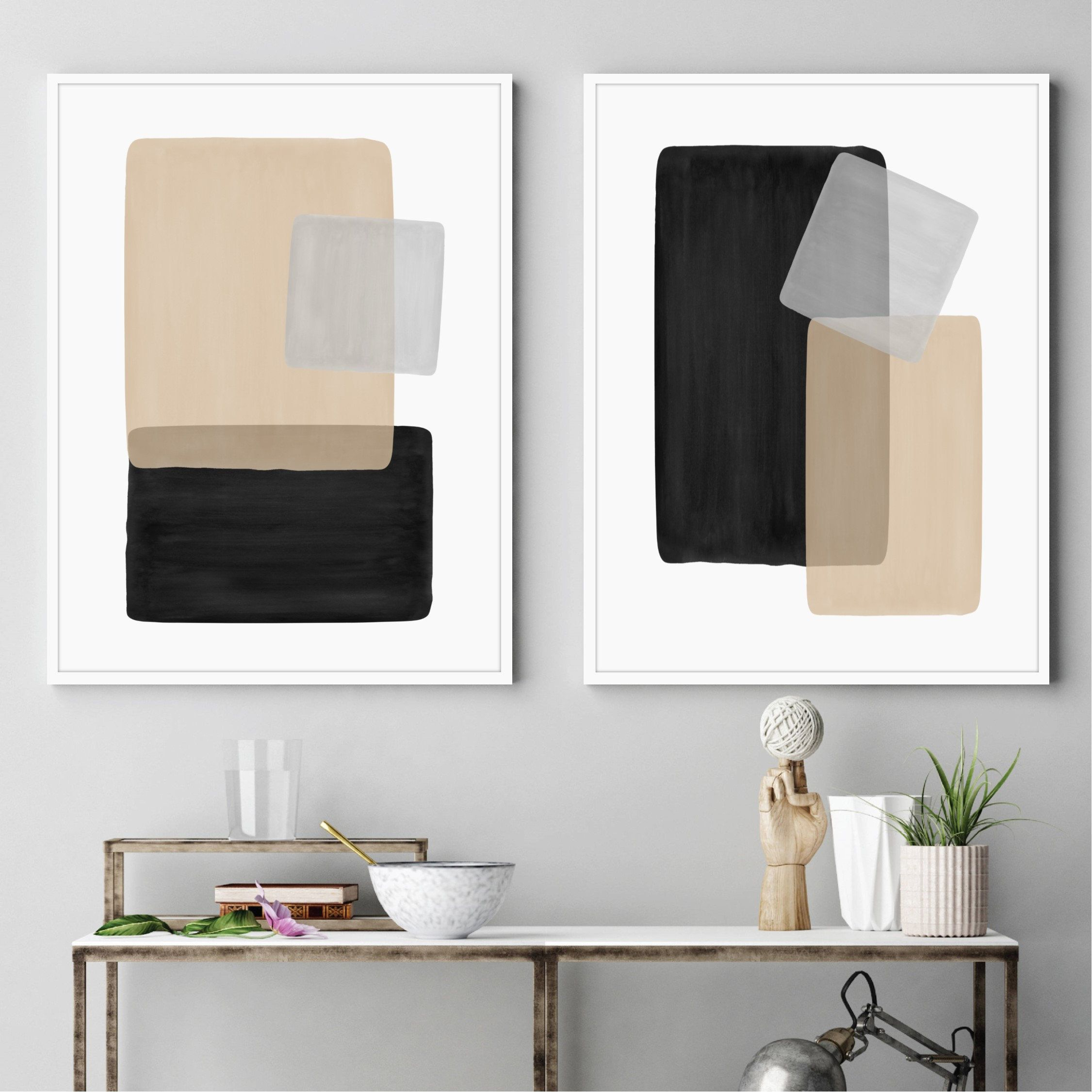 Beige Gray Black Art Set Of Two Abstract Art Paintings Etsy Grey Abstract Art Neutral Art Living Room Decor Modern