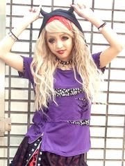 SLASH DEVIL Cutsew Purple + BlackSilver LeopardÊÁ x Silver. See more at http://www.cdjapan.co.jp/apparel/sexpot.html #harajuku #punk
