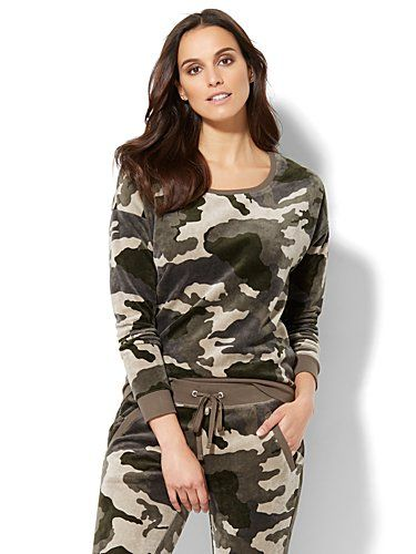 Shop Lounge - Camouflage Velour Sweatshirt. Find your perfect size online at the best price at New York & Company.