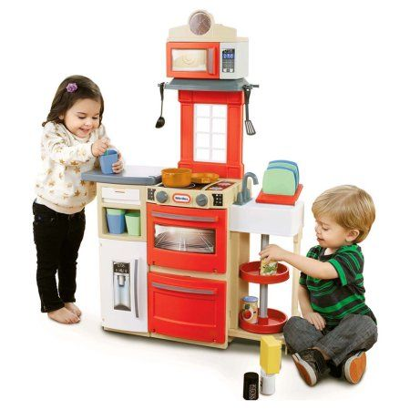 Little Tikes Cook N Store Play Kitchen With 32 Piece Accessory Play Set Red Walmart Com Little Tikes Toddler Kitchen Kids Kitchen