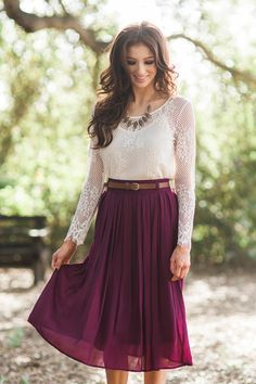Midi Skirt, burgundy midi skirt, pleated skirt, fall fashion ...