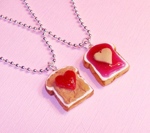 Peanut butter jelly necklace, so adorable!!