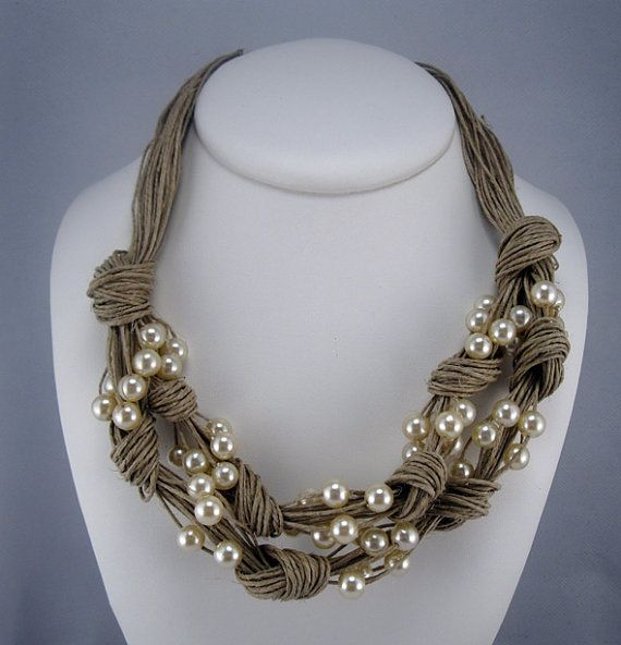 Necklace natural linen thread knots resine pearls net by espurna88, €23.99