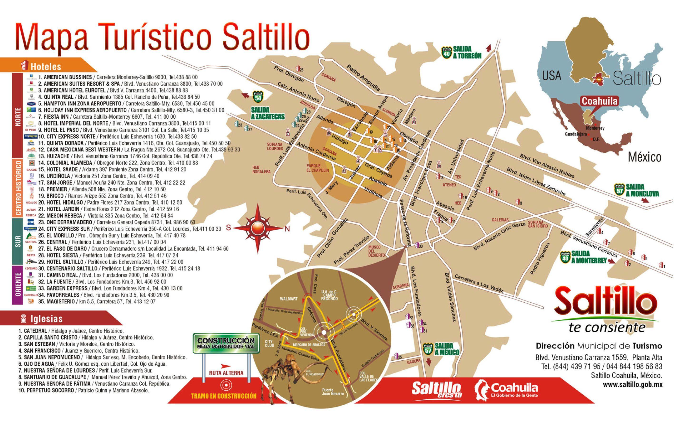 Mapa turistico de Saltillo, Coahuila. MEXICO.