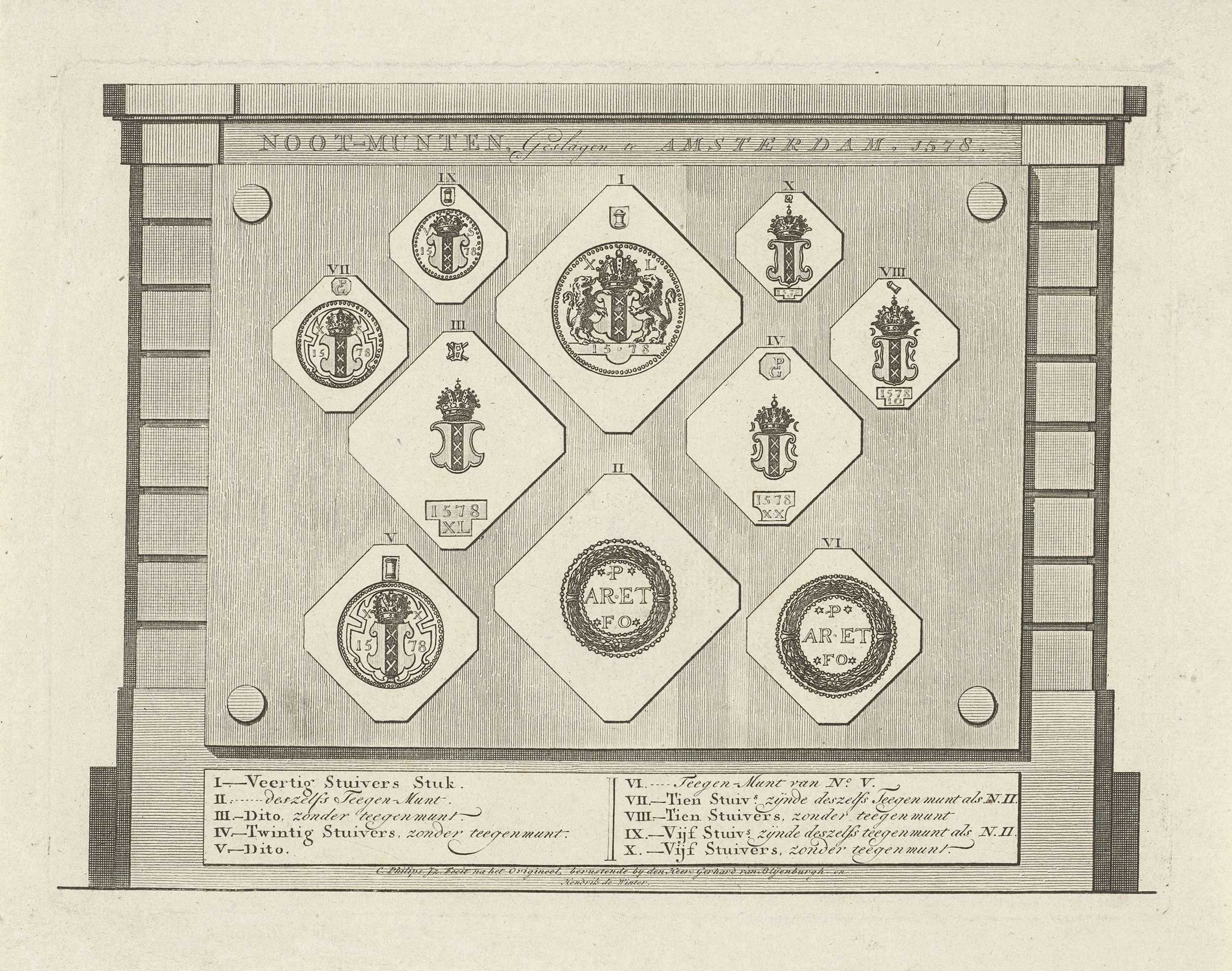 Caspar Jacobsz. Philips | Noodmunten uit Amsterdam, 1578, Caspar Jacobsz. Philips, 1752 - 1789 | Tien noodmunten in Amsterdam geslagen van kerkzilver, tijdens het beleg door Sonoy in 1578. Onderaan de legenda I-X waarin de waarde van de munten.