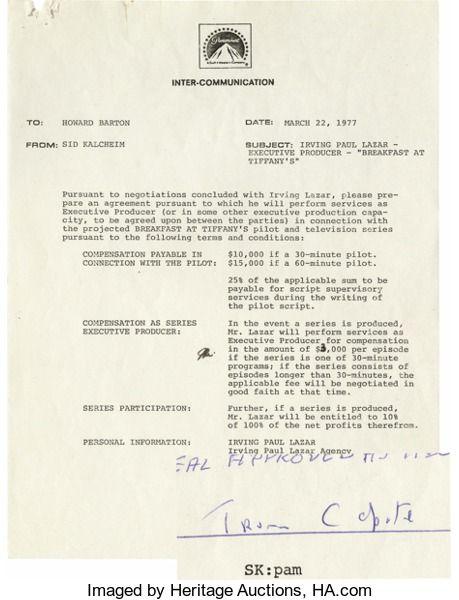 Truman Capote Signed Breakfast At Tiffanys Tv Pilot Agreement