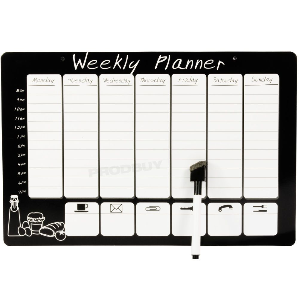 Magnetic Wipeable Weekly Planner Organiser Memo Notice Board Pen