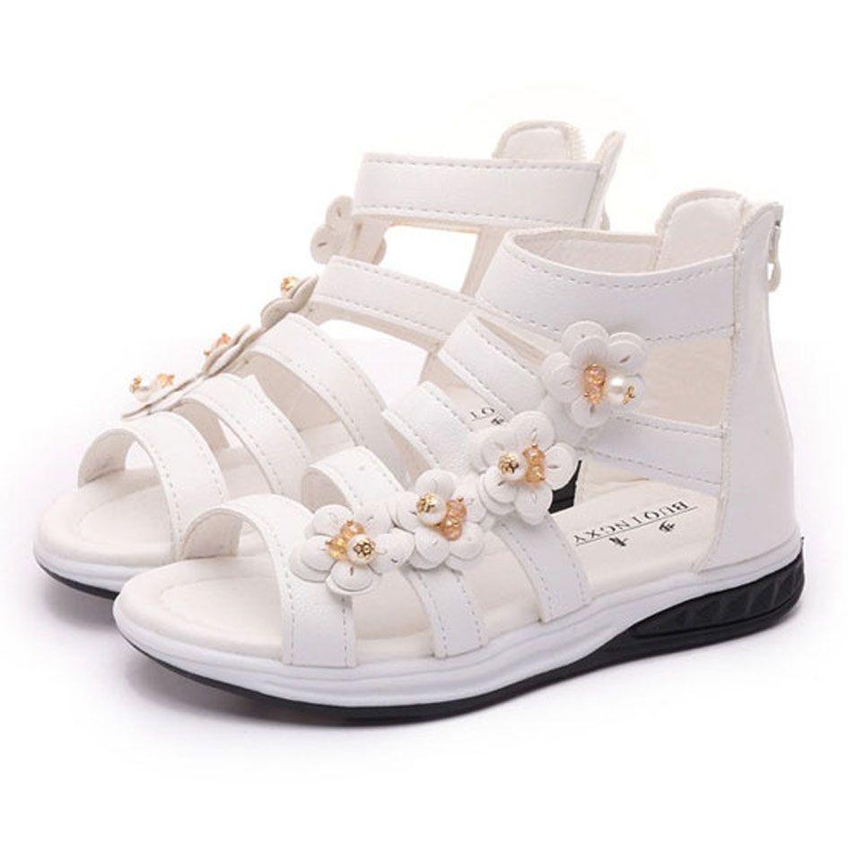 Summer Kids Girls Gladiator Sandals 2017 Crystal Flowers Child Fashion Sandals Zip Open  Straps Girls Beach Shoes Sandale