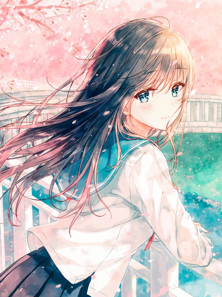 Anime Original Blossom Blue Eyes Blush Brown Hair Gir l