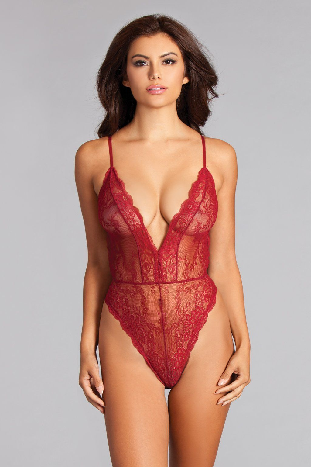 3b22f17bb28 All Over Lace Teddy with Scalloped Edge Around Plunging Neckline and High  Cut Legs